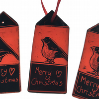 Stained glass christmas Robin hanging decoration, gift tag, red
