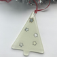 Fused glass Christmas tree decorations, vanilla with silver stars