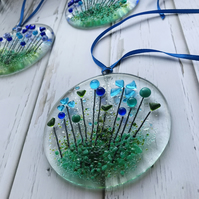 Fused glass suncatcher with blue flowers, housewarming gift, floral