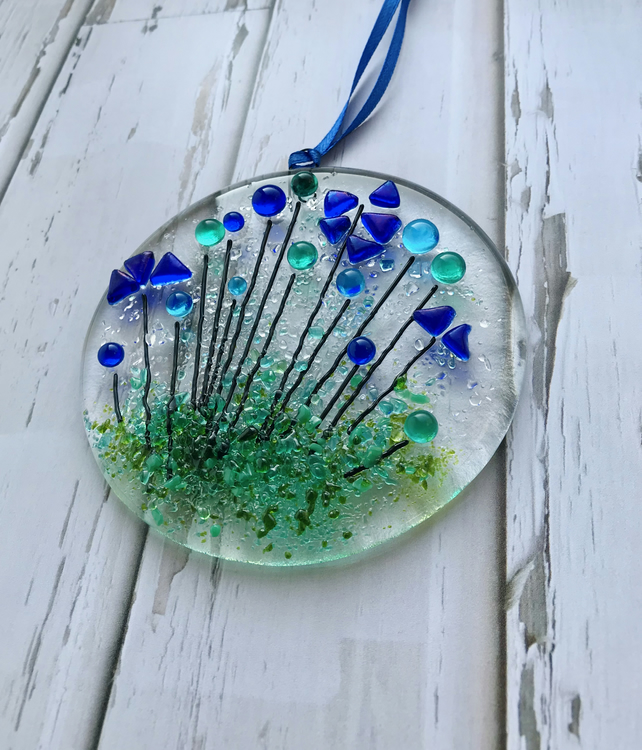 Wildflower suncatcher fused glass, gift for her, housewarming gift, floral