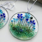 Wild flower fused glass suncatcher, housewarming gift, stocking filler