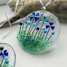 Pretty floral fused glass suncatcher, housewarming gift, stocking filler