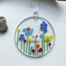 Colourful flower suncatcher made from fused glass, gift for mum, birthday gift