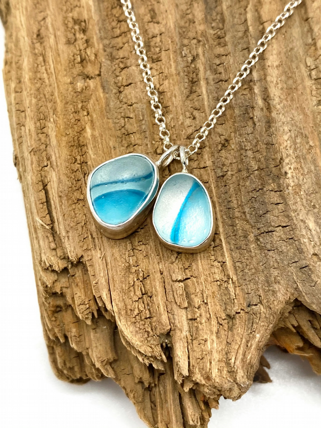 Beautiful Blues Sea Glass Cluster Necklace