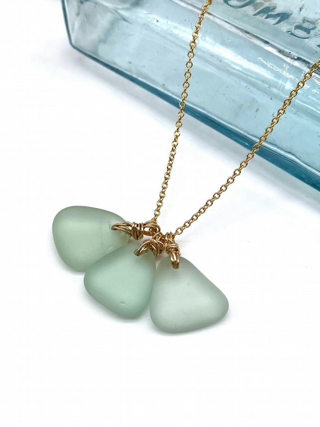 All The Aquas Sea Glass Cluster Necklace