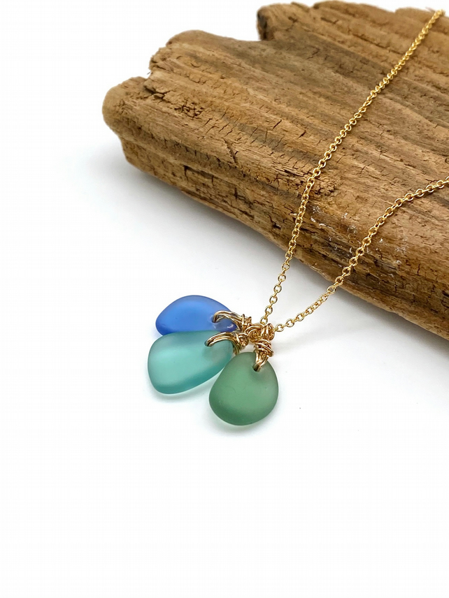 Beautiful Sea Glass Cluster Necklace