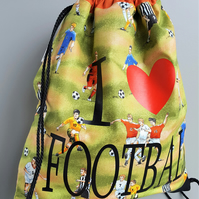 I LOVE Football, Drawstring Bag, Practice Bag, Eco Bag, Kids Backpack, Soccer
