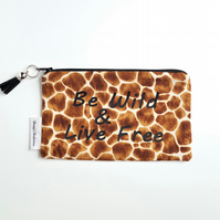 Zip Bag, Animal Print Pouch, Be Wild Bag, Soft Pouch, Handbag Tidy