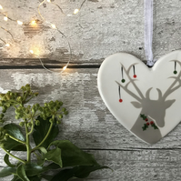 Stag with Christmas Baubles - Hand Painted Christmas Decoration