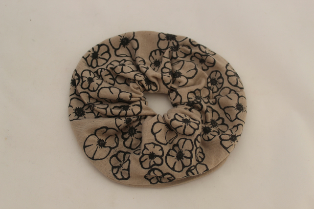 Elastic cream & black hair scrunchie hand print floral,Eco hair accessory,gift
