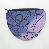 Handmade half moon purple coin purse,cute hand print floral purse,stocking gift