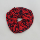 Elastic red and blue scrunchie geometric hand print,Eco hair accessory,gift