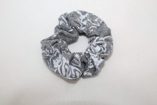 Elasticated grey cotton hair scrunchie,hair accessory handmade,zero waste,gift