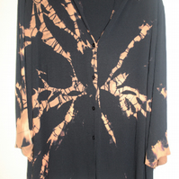 Unisex reworked Eco black  blouse,black and  rust copper Tie Dye,