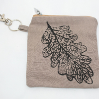 Handmade brown oak leaf printed purse, hand printed key coin purse,great gift
