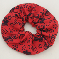 Elasticated red cotton hair scrunchie,hair accessory handmade,zero waste,gift