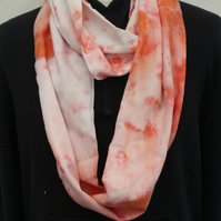 Handmade Orange and cream tie dyed scarf, loop infinity Eco scarf, Unisex gift.