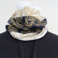 Handmade lined cream and blue Neck warmer,Handmade abstract print,unisex gift