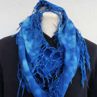Infinity Eco tasseled scarf, blue and turquoise hand dyed scarf, unisex gift