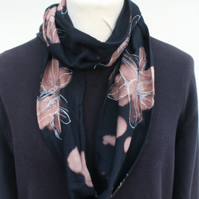 Handmade charcoal black infinity scarf, bold floral white lily print scarf, gift