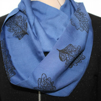 Blue Eco infinity scarf,black oak leaf  print, soft loop scarf, gift