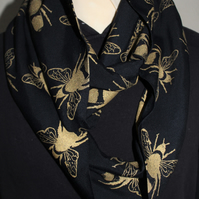 Black and gold bee print, designer scarf, hand printed,cotton blend scarf, gift