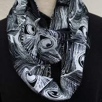 Unique peacock print infinity scarf,tasseled scarf,soft cotton blue scarf,gift.