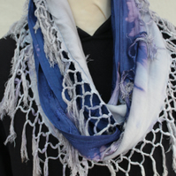 Tasseled blue and purple scarf, Eco infinity scarf,hand dip dyed, unisex scarf.