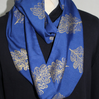 Blue Eco infinity scarf,gold oak leaf  print, soft loop scarf, gift