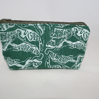 zip up green and white make up bag, abstract print, Eco bag,pouch,pencil case