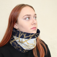 Handmade fleece lined strip Neck warmer,Handmade handmade tree print,unisex gift