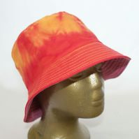 Tie dye red and orange bucket hat, upcycled zero waste hat, unisex gift.