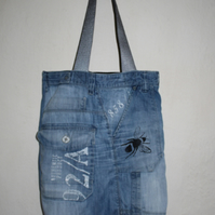 Handmade blue up cycled cargo denim Tote bag,bee screen print Bag,gift