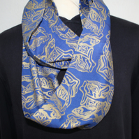 Blue and gold abstract hand printed infinity scarf, up-cycled unisex scarf, gift