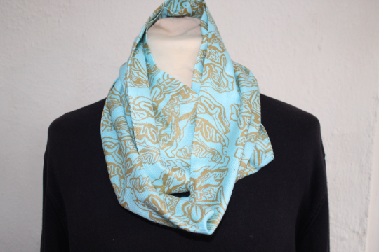 Turquoise and gold abstract handprint infinity scarf,up-cycled unisex scarf,gift