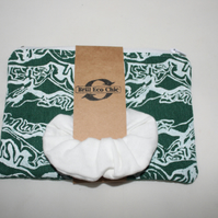 zip up green and white make up bag & scrunchie,abstract print,Eco pouch,gift set