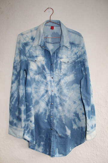 Unisex Vera Moda denim shirt, reworked tie dye blue denim and white tones shirt
