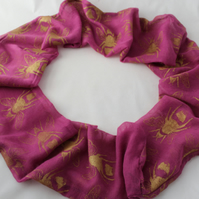 Pink and gold cotton blend infinity scarf, hand printed bee patterned, eco gift.