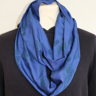 Blue and green hand printed cactus print scarf, infinity loop scarf, unisex gift