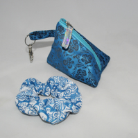 Zip up blue floral denim pyramid purse and hair scrunchie, Eco gift set,