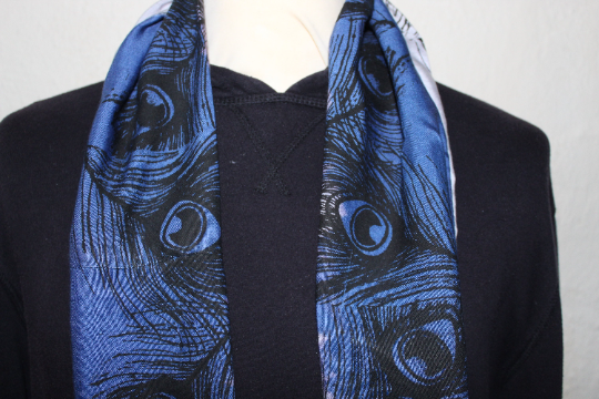 Unique peacock print infinity scarf,dip dyed blue & purple scarf,zero waste gift