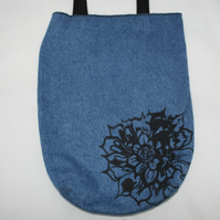 Handmade blue denim tote bag,floral print zero waste recycled tote gift
