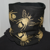 Handmade stretch black cotton Neck warmer, hand printed bee print, Snood scarf.