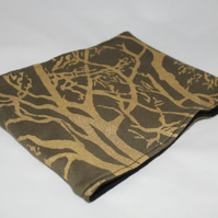 Handmade green fleeced lined Neck warmer,gold tree hand printed, Snood scarf.