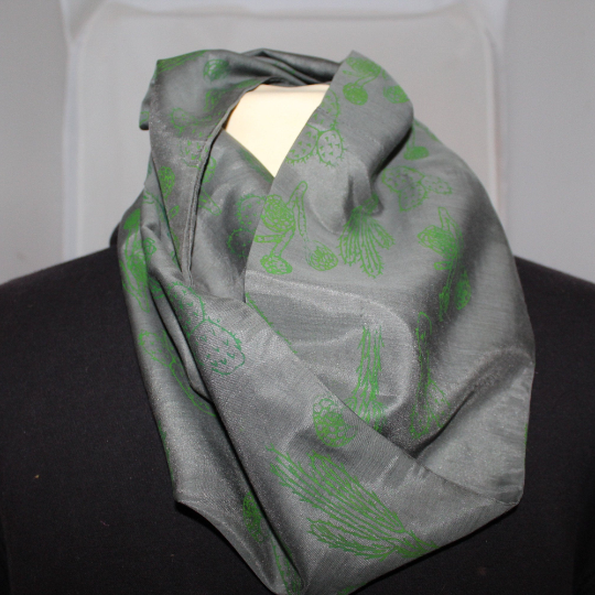 Grey & green cactus hand print infinity scarf,soft cotton blend scarf,Eco gift.