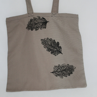 Handmade brown oak leaf printed tote bag hand printed, Eco tote, great gift
