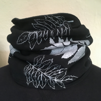 Handmade fleece lined black and silver leaf, neck warmer, snood scarf