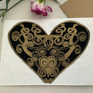 Eco plantable wildflower seed card,Gold Heart screen print, handmade card, blank