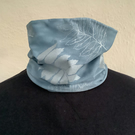 Handmade soft stretch snood scarf, lined blue and silver leaf print, snood scarf