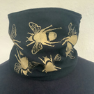 Handmade stretch cotton Neck warmer, hand printed bee print,black Snood scarf.